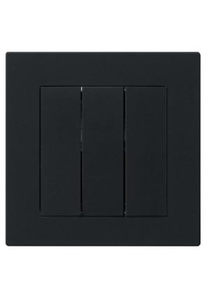Întrerupător triplu GIRA E2 flat cu ramă simplă negru mat