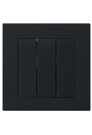 Întrerupator triplu GIRA cu ramă simplă negru mat si doza pentru perete gips-carton