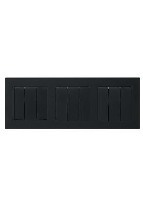 Trei întrerupatoare triple GIRA cu ramă triplă negru mat si doza pentru perete gips-carton