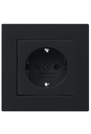 Priză Schuko GIRA cu ramă simplă negru mat si doza pentru perete gips-carton