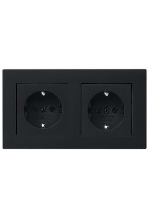 Două prize Schuko GIRA E2 flat cu ramă dublă negru mat