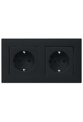 Doua prize Schuko  GIRA cu ramă dublă negru mat si doza pentru perete gips-carton