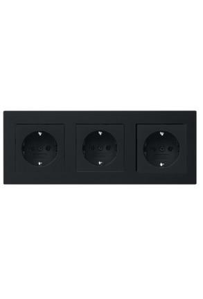 Trei prize Schuko GIRA E2 flat cu ramă triplă negru mat