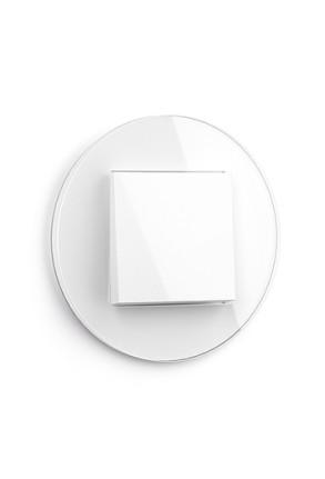 Întrerupator simplu GIRA alb lucios cu ramă simplă sticlă albă