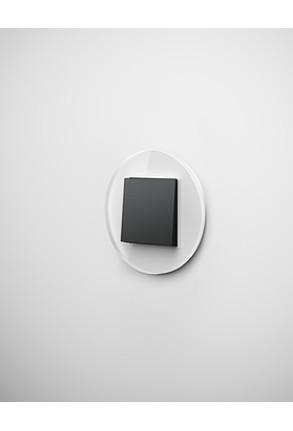 Întrerupator simplu GIRA Studio negru mat cu ramă simplă sticlă albă