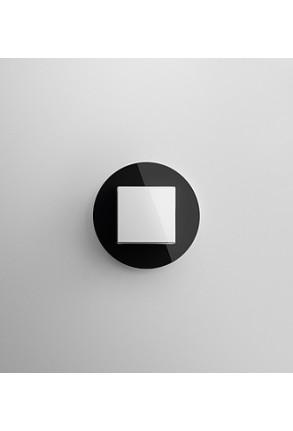 Întrerupator simplu GIRA Studio alb lucios cu ramă simplă sticlă neagră