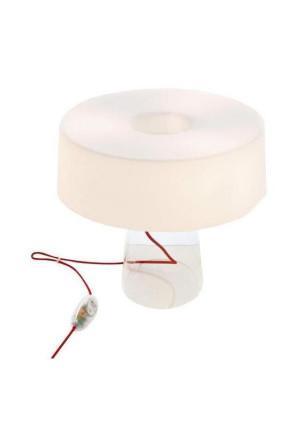 Glam T1 - Lampă de masă cu abajur alb din sticlă