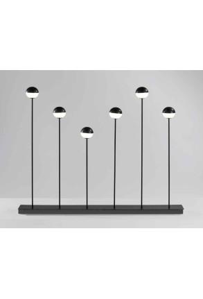 Alfi - Lampă de podea neagră 6 cu globuri albe