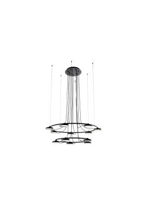 Aro XL LED - Lustră neagră cu 12 surse de lumină ajustabile cu finisaj mat