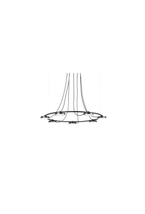 Aro 120 LED - Lustră neagră cu 7 surse de lumină ajustabile cu finisaj mat