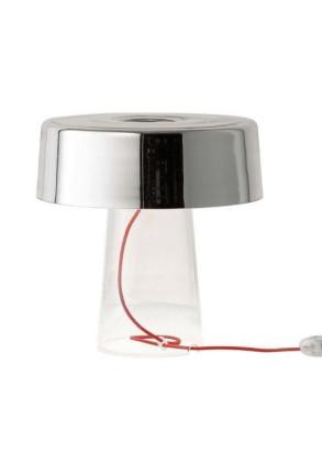 Glam T1 - Lampă de masă cu abajur argintiu din sticlă