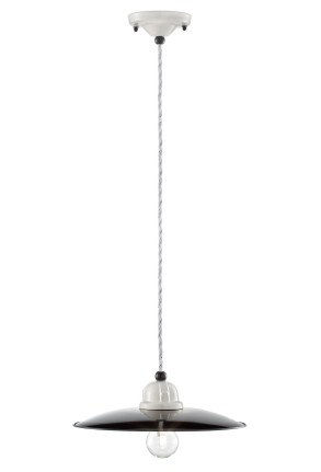 C1610 - Pendul retro negru cu finisaj alb din ceramică