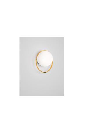 Circ - Aplică din sticlă cu glob alb și cerc auriu
