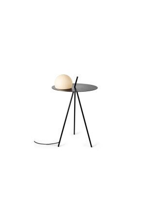 Circ - Lampă de podea neagră tip masă cu glob alb