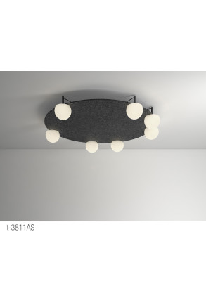 Circ - Plafonieră acustică neagră cu 7 globuri din sticlă