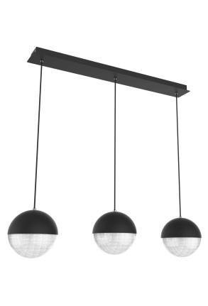 Furni II - Lustră neagră cu 3 globuri