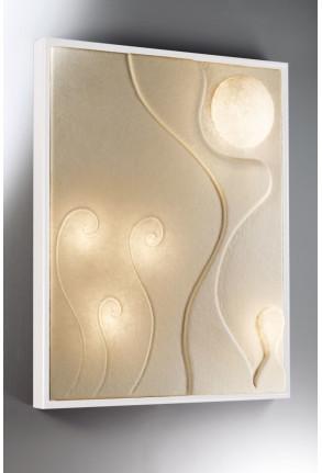 Lunar Dance- Aplică din nebulit cu ramă albă cu 4 surse de lumină