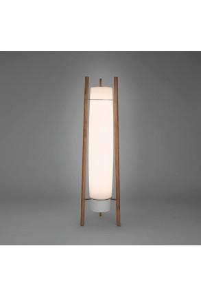 Inn Side - Lampadar alb cu structură din lemn