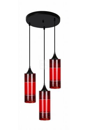 Plazma III - Lustră cu 3 abajururi roșii din sticlă