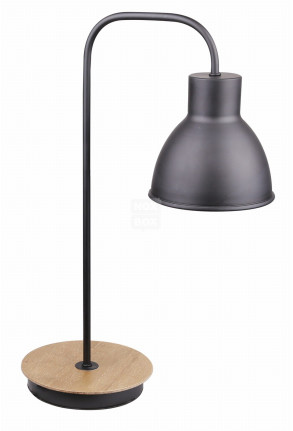 Vario - Lampă de masă neagră și finisaj de lemn