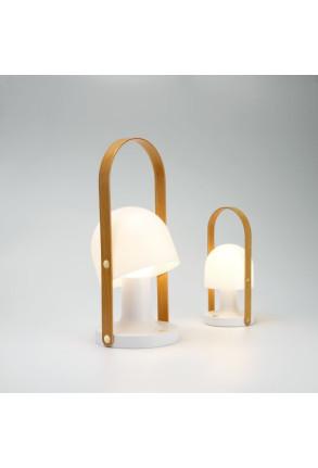 FollowMe Plus - Lampă portabilă albă cu mâner din furnir