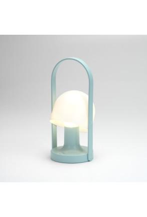 FollowMe - Lampă portabilă albă cu mâner din furnir