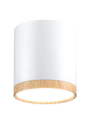 Tube Wood - Downlight alb cu finisaj din lemn