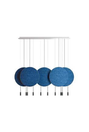 Revolta I - Lustră neagră cu 5 panouri acustice albastre