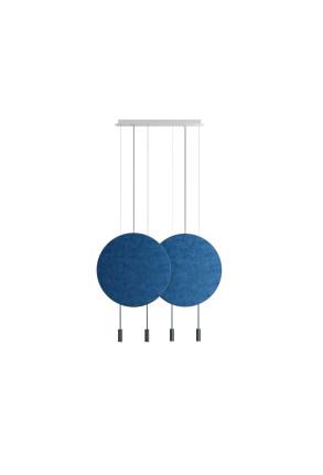 Revolta II - Lustră neagră cu 2 panouri acustice albastre