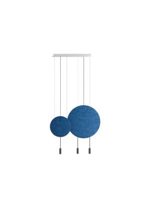 Revolta III - Lustră neagră cu 2 panouri acustice albastre