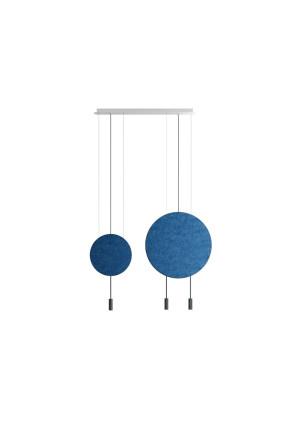 Revolta IV - Lustră neagră cu 2 panouri acustice albastre