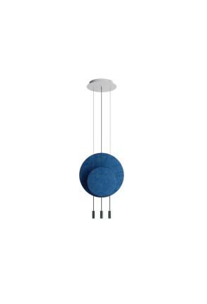 Revolta I - Lustră neagră cu 2 panouri acustice albastre