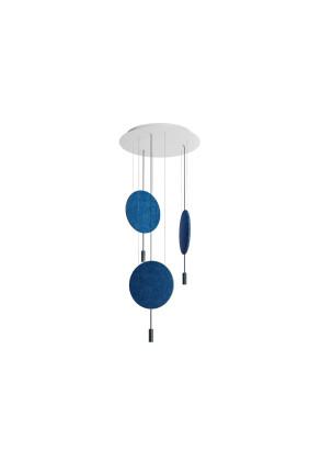 Revolta - Lustră neagră cu 3 panouri acustice albastre