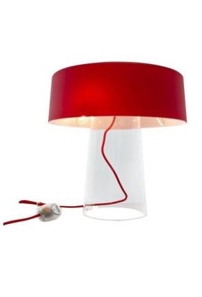 Glam Small T1 - Lampă de masă cu abajur roșu din sticlă